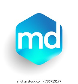 Letter MD logo in hexagon shape and colorful background, letter combination logo design for business and company identity.