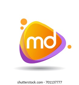 Letter MD logo in triangle splash and colorful background, letter combination logo design for creative industry, web, business and company.