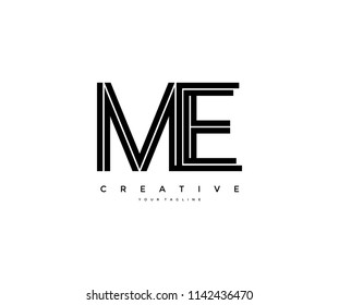 Letter ME Initial Linked Modern Monogram Line Corporate Logo