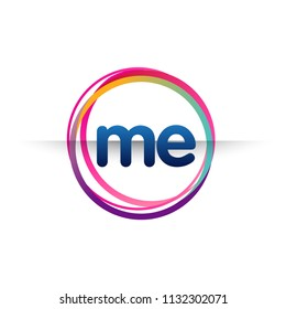 Letter ME logo with colorful circle, letter combination logo design with ring, circle object for creative industry, web, business and company.