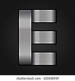 Letter metallic chromium ribbon - E, vector 10eps