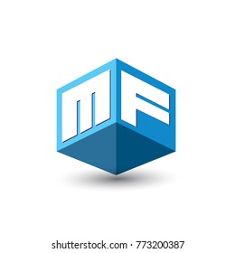 Letter MF logo in hexagon shape and blue background, cube logo with letter design for company identity.