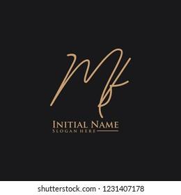 Letter Mf Logo. Initial Letter Design Vector Luxury Colors