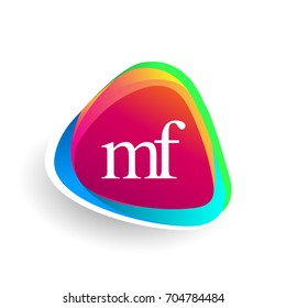 Letter MF logo in triangle shape and colorful background, letter combination logo design for company identity.