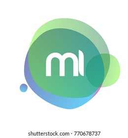 Letter MI logo with colorful splash background, letter combination logo design for creative industry, web, business and company.