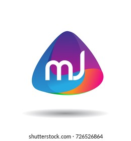 Letter MJ logo with colorful splash background, letter combination logo design for creative industry, web, business and company.