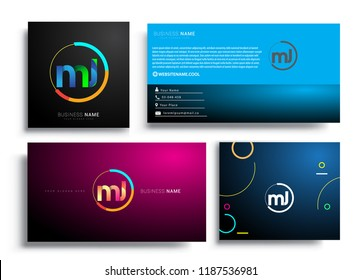 Letter MJ logotype with colorful circle, letter combination logo design with ring, sets of business card for company identity, creative industry, web, isolated on white background.