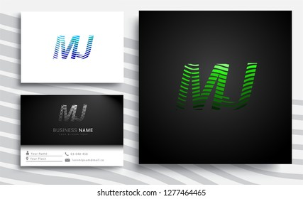 Letter MJ logotype with colorful circle, with striped composition letter, sets of business card for company identity, creative industry, web.
