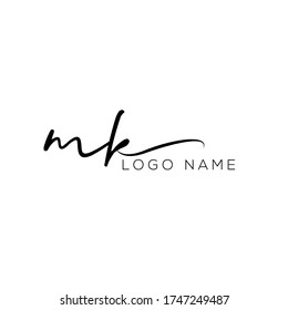 Letter MK handwriting logo with luxury elegant modern  style perfect for , beauty , wedding photography , spa , makeup logos