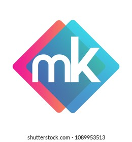 Letter MK logo with colorful geometric shape, letter combination logo design for creative industry, web, business and company.