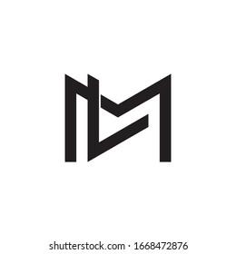letter ml geometric line simple overlap logo vector