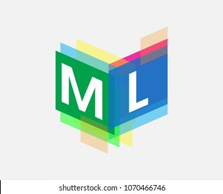 Letter ML logo with colorful geometric shape, letter combination logo design for creative industry, web, business and company.
