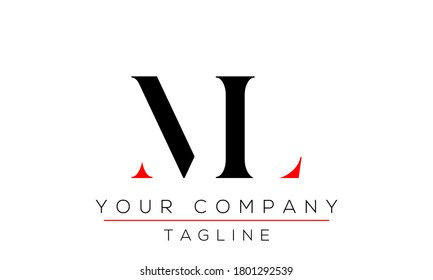 Letter ML Logo Design, Creative Modern Icon LM M L