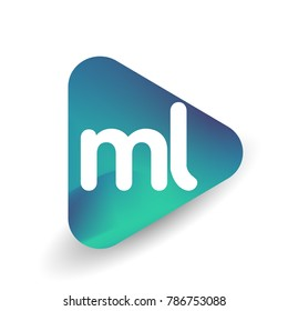Letter ML logo in triangle shape and colorful background, letter combination logo design for business and company identity.