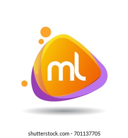 Letter ML logo in triangle splash and colorful background, letter combination logo design for creative industry, web, business and company.