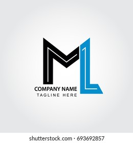 letter ML, M and L logo isolated