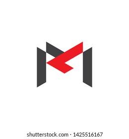 letter ml simple geometric line logo vector