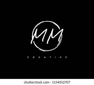 Letter MM Circle Line Logo Abstract Artistic Urbane Grunge Stroke