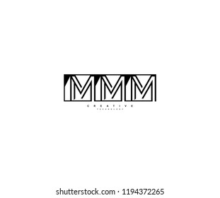 Letter MMM Linear Stripe Illusion Monogram Isolated Square Shape Logo