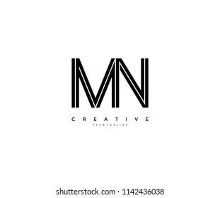 Letter MN Initial Linked Modern Monogram Line Corporate Logo