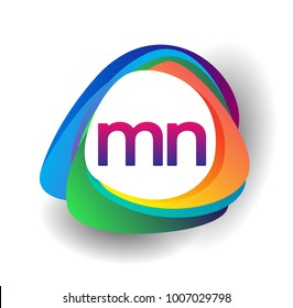 Letter MN logo with colorful splash background, letter combination logo design for creative industry, web, business and company.