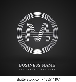 Letter MO or OM linked logo design circle O shape. Elegant silver colored, symbol for your business name or company identity.