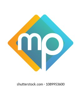Letter MP logo with colorful geometric shape, letter combination logo design for creative industry, web, business and company.
