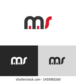 Letter ms linked lowercase logo design template elements. Red letter Isolated on black white grey background. Suitable for business, consulting group company.