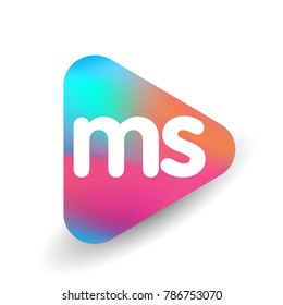 Letter MS logo in triangle shape and colorful background, letter combination logo design for business and company identity.