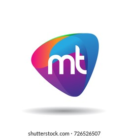 Letter MT logo with colorful splash background, letter combination logo design for creative industry, web, business and company.