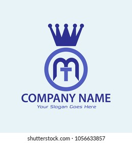 letter mt logo with crown