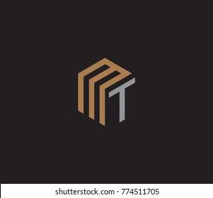 Letter MT logo. hexagon logo