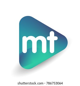 Letter MT logo in triangle shape and colorful background, letter combination logo design for business and company identity.