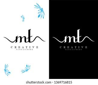 letter mt/tm handwriting logo template vector