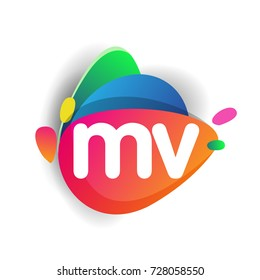 Letter MV logo with colorful splash background, letter combination logo design for creative industry, web, business and company.