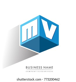 Letter MV logo in hexagon shape and blue background, cube logo with letter design for company identity.