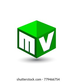 Letter MV logo in hexagon shape and green background, cube logo with letter design for company identity.