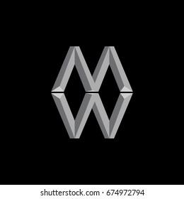 letter MW 3d design vector