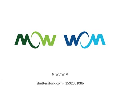letter MW or WM concepts, initials logo template, typography of MW and WM