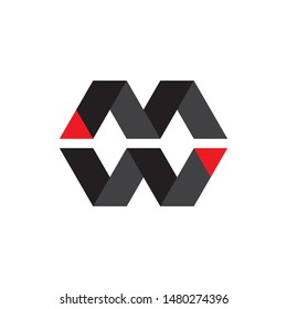 Letter MW or WM logo design vector