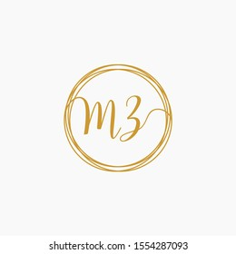 Letter MZ logo template. Creative fashion logo design, couple letter , beauty icon. Initial handwriting or handwritten logo for identity. Logo with hand drawn style. wedding concept -vector