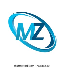 letter MZ logotype design for company name colored blue swoosh. vector logo for business and company identity.