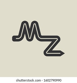 Letter MZ pencil shape logo design. Link icon in flat style isolated on grey background. Graphic alphabet symbol for your corporate business identity, website, app, UI. Arts logo design inspiration.