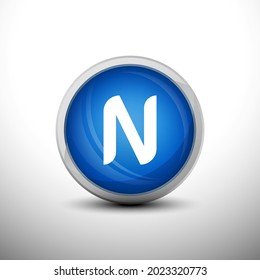 Letter N in 3D Shiny Blue Keys for web Icons, Education Icons and Alphabet Icons. Vector Illustration