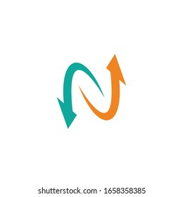 Letter N With Arrow Logo Design