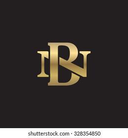 letter N and B monogram golden logo