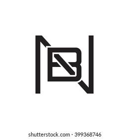 letter N and B monogram square shape logo black