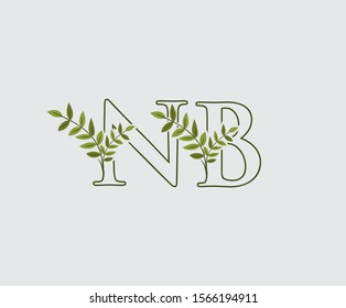 Letter N, B and NB Nature Leaf Logo Icon.