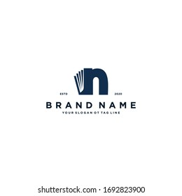 letter N and book logo design vector template