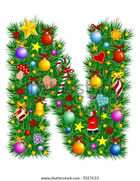 Letter N - Christmas decoration - Alphabet